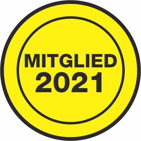 """Jahresaufkleber rund 38 mm """" Mitglied 2021 """" gelb/schwarz"""