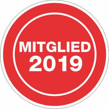 """Jahresaufkleber rund 38 mm """" Mitglied 2019 """" rot/weiß"""