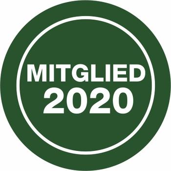 """Jahresaufkleber rund 38 mm """" Mitglied 2020 """" grün/weiss"""