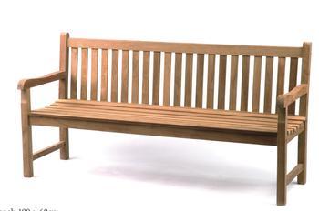 TEAK Sitzbank mit Rückenlehne 180 x 60 cm
