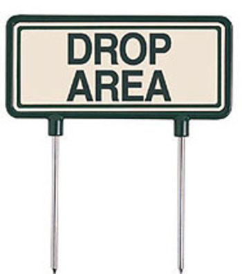 "Fairway Schild, grün/beige ""Drop Area"""