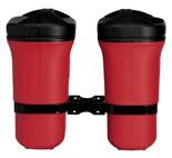 Doppelabfallbehälter inkl. Deckel u. Halterung, rot